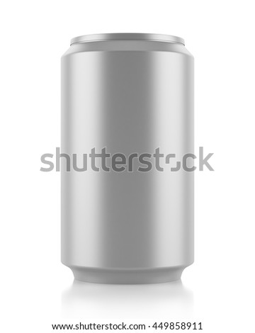 gray beer can isolated on white background. 3d illustration - stock photo