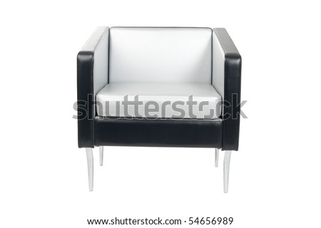 Gray-black armchair in a modern style isolated on white. - stock photo