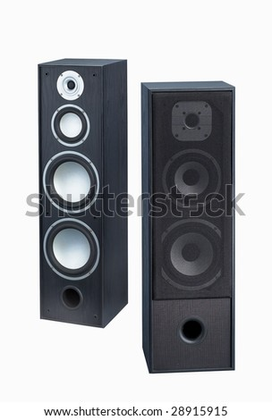 Gray-black speaker isolated on white background - stock photo