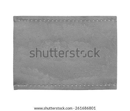 gray blank leather jeans label isolated on white background - stock photo