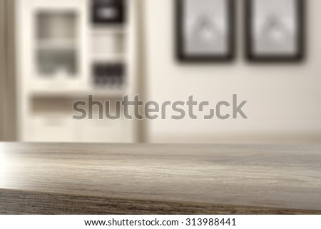 gray blurred background of home furniture with desk  - stock photo