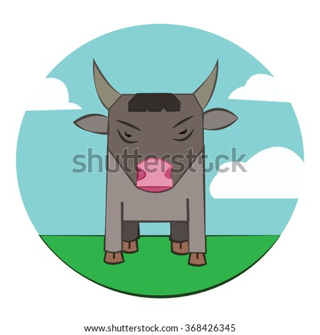 Gray Bull with Horns standing in the green field. Sky with clouds summer landscape. Farm animal in the countryside. Round Icon. Digital raster illustration. - stock photo
