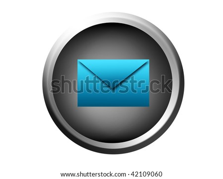 Gray button with blue envelope sign over white background