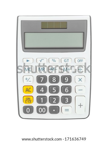 Gray calculator isolated on a white background - stock photo