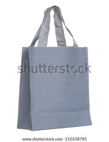 gray canvas bag  isolated on white with clipping path - stock photo