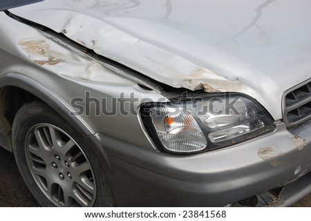 Gray car after wreck - stock photo
