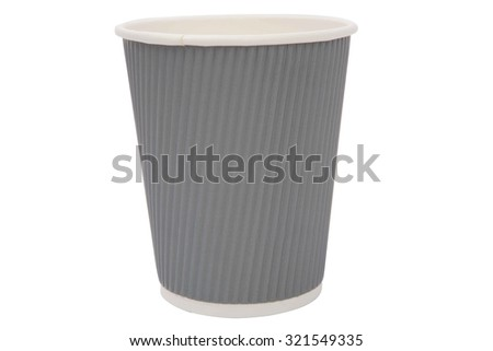 Gray cardboard cups for hot drinks - stock photo