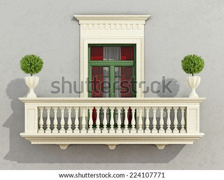 Gray classic facade with stone balcony and window -3D Rendering - stock photo