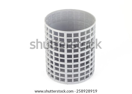 gray color plastic basket on white background