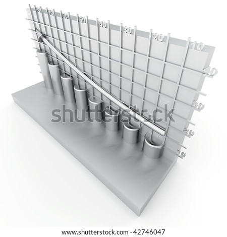gray columns of diagram with arrow rising upwards - stock photo