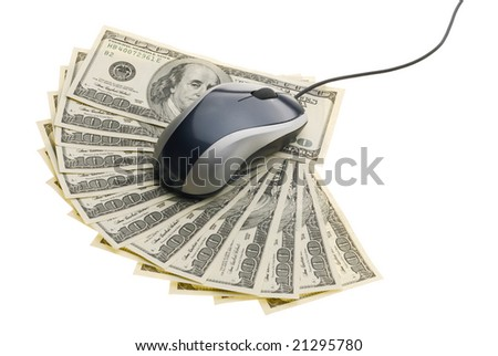 Gray computer mouse with cable on fantail of hundred dollars isolated on the white background