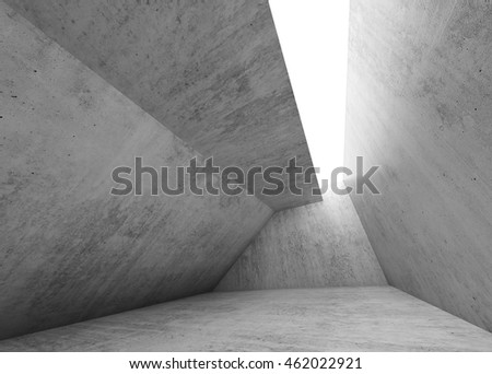 Gray concrete room interior. Abstract empty modern architecture background, 3d render