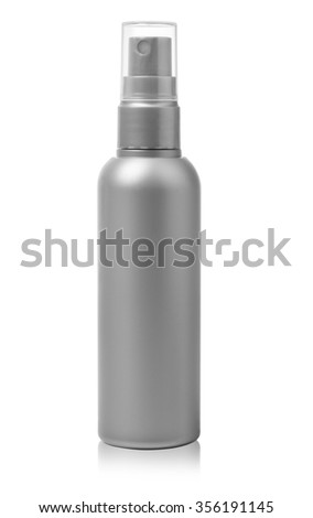 Gray container of spray bottle isolated over white background. With clipping path - stock photo