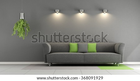 Gray contemporary living room with sofa and spotlight on wall - 3d Rendering - stock photo