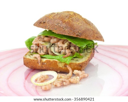 Gray crab roll from Husum, North Sea coast - stock photo