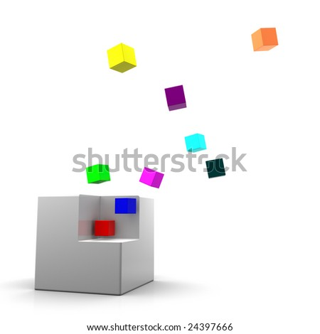 Gray cube being dissolved onto smaller colorful cubes. On white background