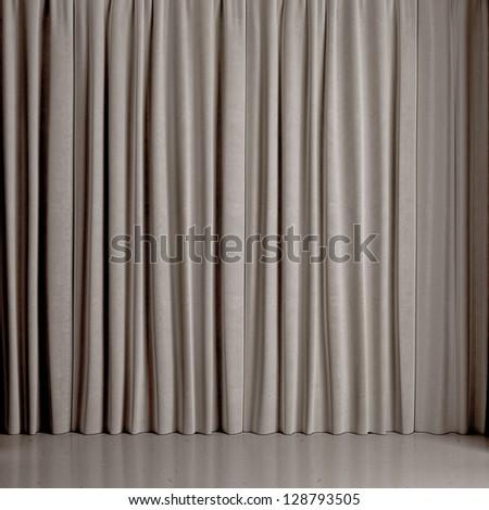 gray curtain - stock photo