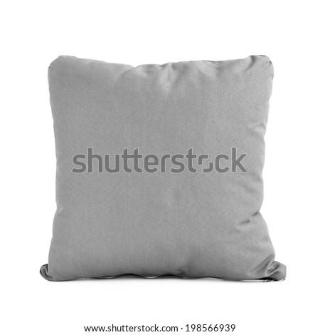 Gray cushion isolated on white background - stock photo