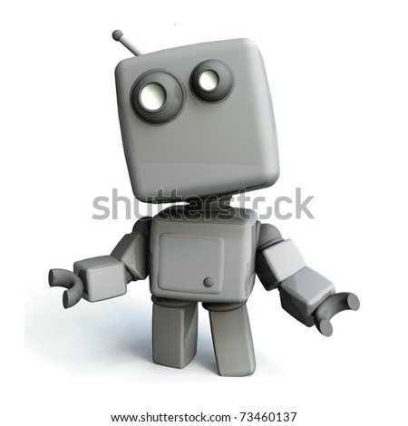 Gray 3D robot, Isolated on White Background - stock photo