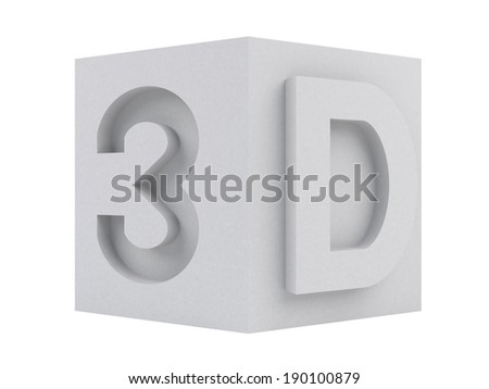 gray 3D word on box - stock photo