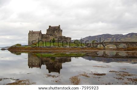 Gray day, Eilean Donan Castle, Scotland - stock photo