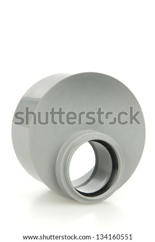 Gray drain pipe- one piece on white background - stock photo