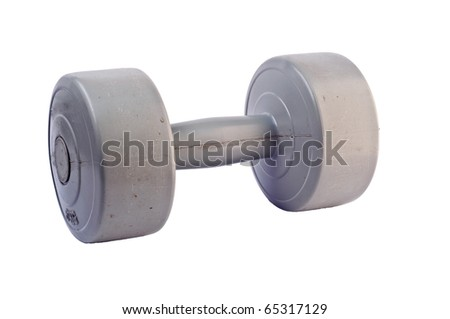 Gray dumbbell on white background. - stock photo