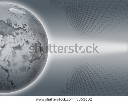 Gray Earth on the gray background - stock photo
