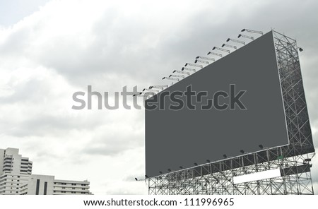 gray empty billboard on city. - stock photo
