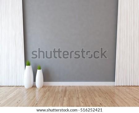 gray empty interior vases 3d illustration stock illustration