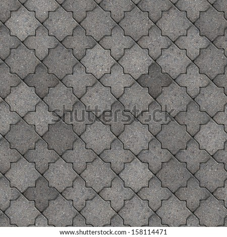 Gray Figured Pavement. Seamless Tileable Texture. - stock photo