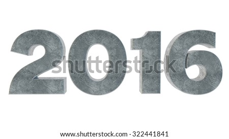 gray figures an inscription 2016 from concrete - stock photo
