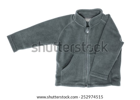 Gray fleece jacket, isolated on the white - stock photo