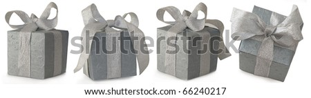 gray gift box with silver bow from different angles, isolated on the white background - stock photo