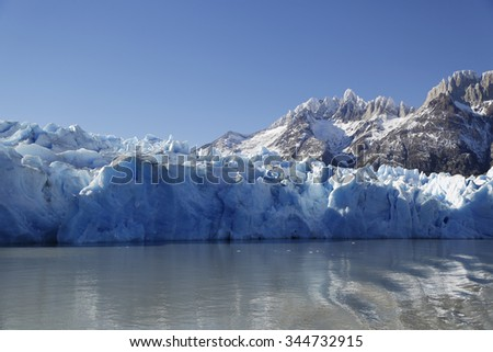 Gray glacier, Torres del Paine National Park, Patagonia, Chile