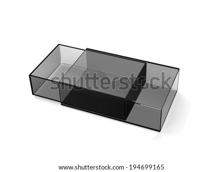 Gray glass matchbox on white - stock photo
