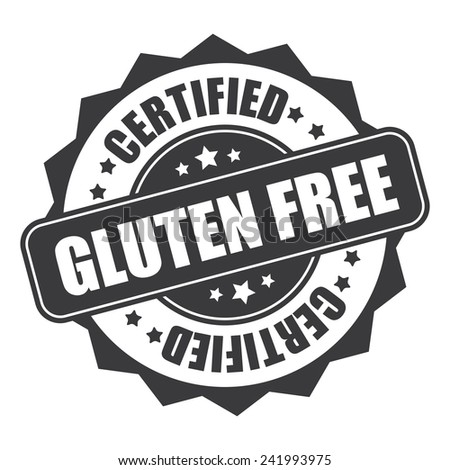 Gray gluten free certified icon, tag, label, badge, sign, sticker isolated on white - stock photo