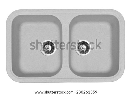 Gray granite sinks for the kitchen, isolated on white background - stock photo
