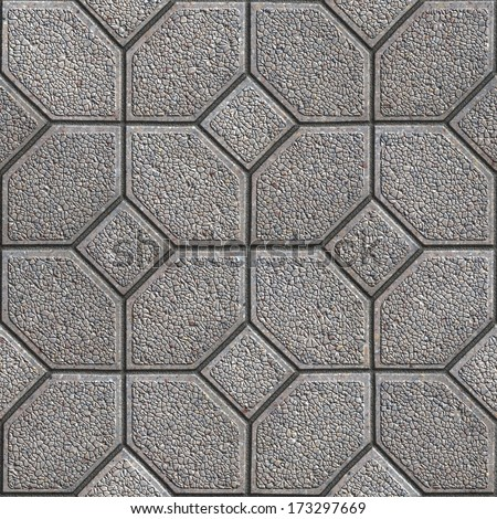 Gray Granular Pavement of Four Hexagons Around the Square. Seamless Tileable Texture. - stock photo