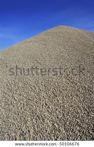 gray gravel mound mountain for concrete making - stock photo