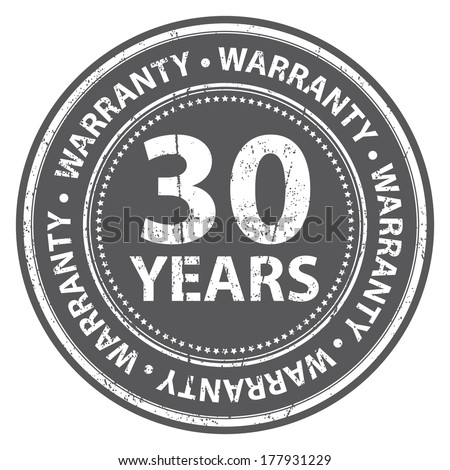 Gray Grunge Style 30 Years Warranty Icon, Badge, Label or Sticker for Product Warranty, Quality Control, Quality Assurance, Quality Management, CRM or Customer Satisfaction Concept Isolated on White - stock photo