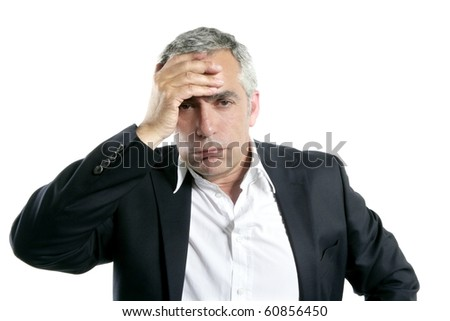 gray hair sad worried senior businessman expertise man isolated on white - stock photo