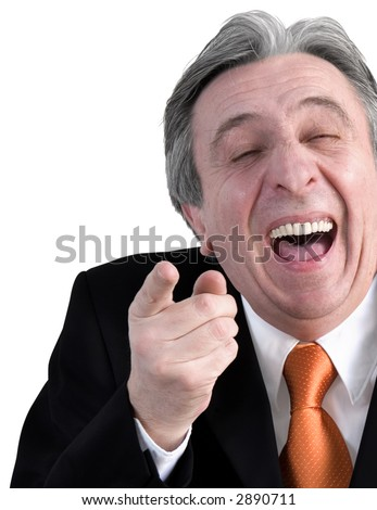 Gray haired senior laughing. - stock photo