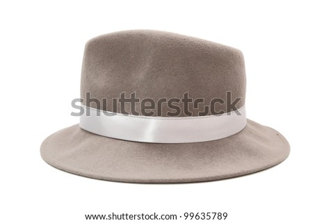 gray hat with tape over a white background