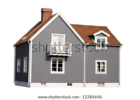 Gray house isolated on white background - stock photo