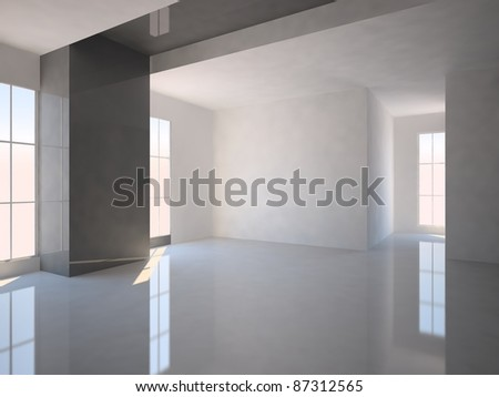 gray interior in modern room - stock photo