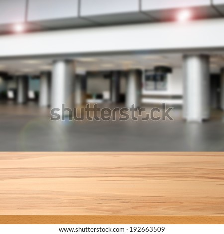 gray interior of airport and desk of yellow  - stock photo