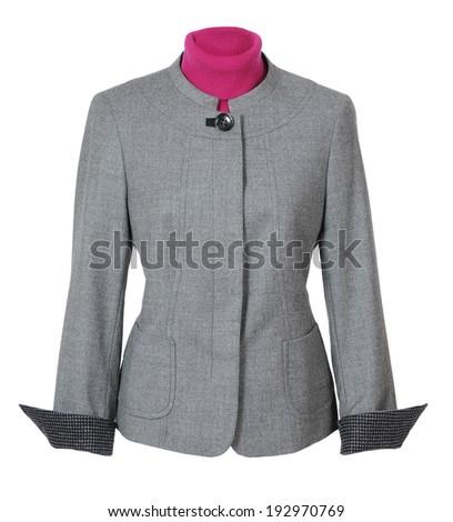 gray jacket isolated on white - stock photo