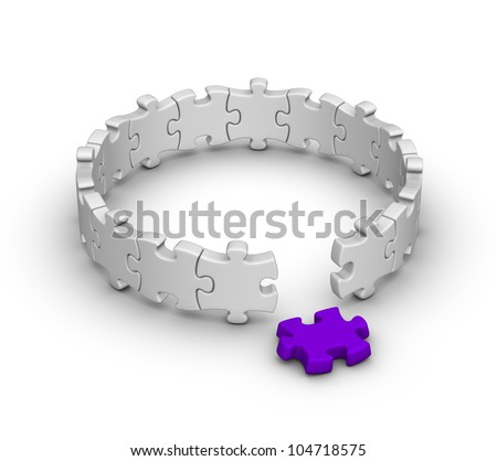 gray jigsaw puzzles with one red piece - stock photo