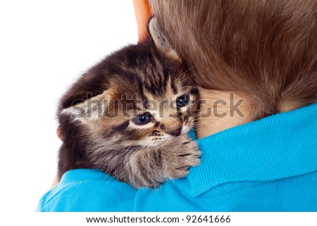 Gray kitten on boy's shoulder, isolated on white - stock photo
